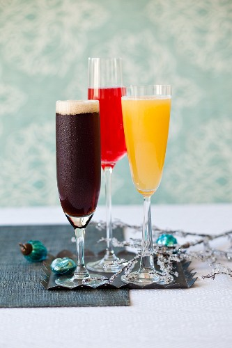 Three champagne cocktails for Christmas