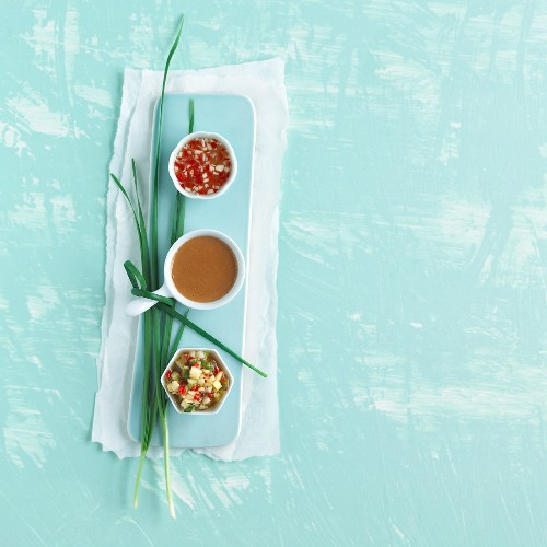 Three Asian dips: Nuoc mam, peanut sauce and pineapple dip