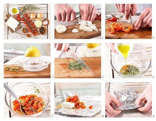 How to prepare sheep's cheese with tomatoes and olives in foil