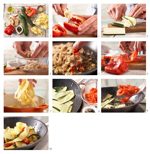 How to prepare red pepper and courgette pasta