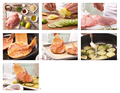 How to prepare pan-fried red mullet on a bed of citrus fruit slices