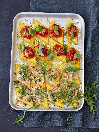 Baked polenta diamonds with tomato sugo and Gorgonzola