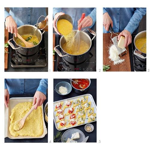 How to prepare baked polenta diamons with tomato sugo and gorgonzola