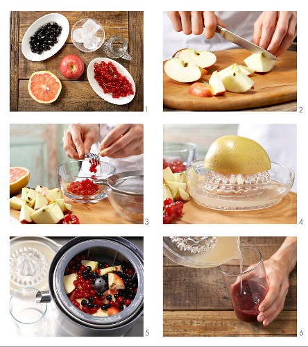 How to prepare apple and grapefruit drink with redcurrants