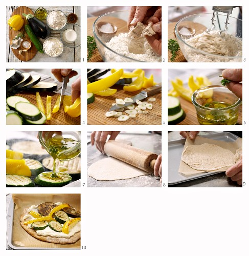 How to prepare mini spelt pizzas with antipasti vegetables and ricotta