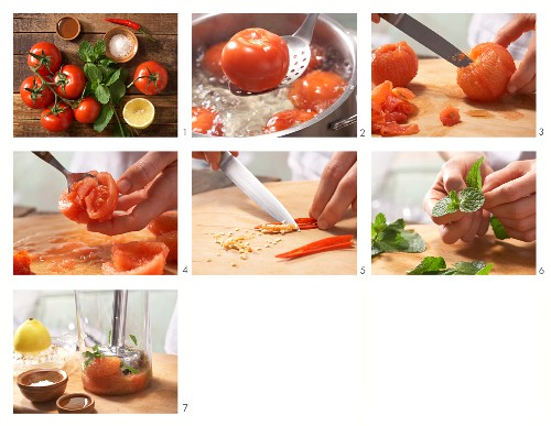 How to prepare chilli and tomato sorbet with mint