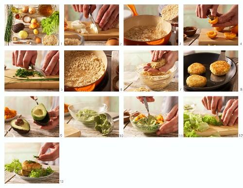 How to prepare rice patties with an avocado dip