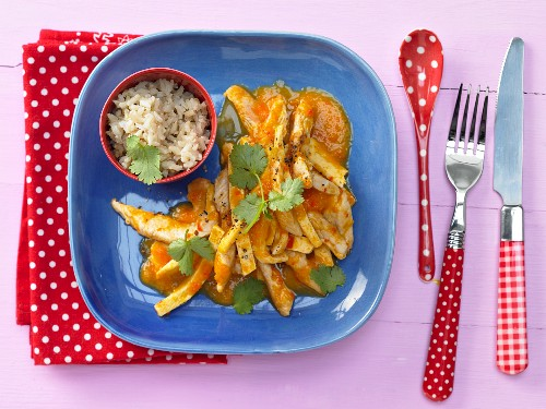 Tofu turkey slices with peach and peppers