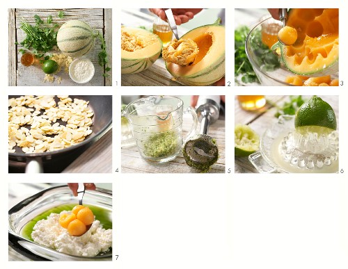 How to prepare a melon salad with fresh cheese and a sweet and sour coriander dip
