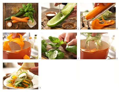 How to make stewed cucumber with carrots and Parmesan cheese