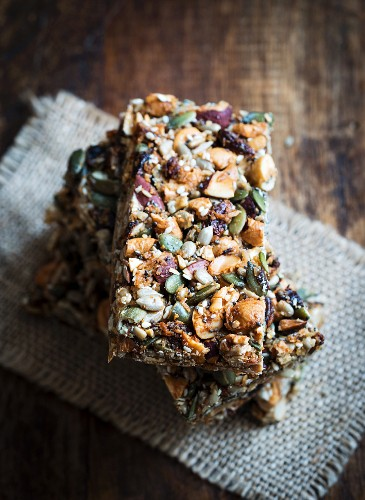 A stack of homemade gluten-free paleo nut bars