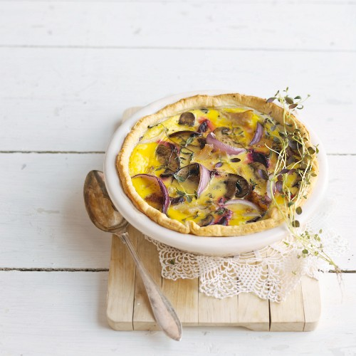 Onion and mushroom tart