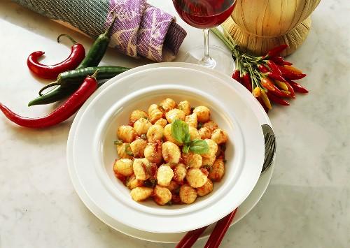 Gnocchi all' arrabiata (gnocchi with spicy sauce, Italy)