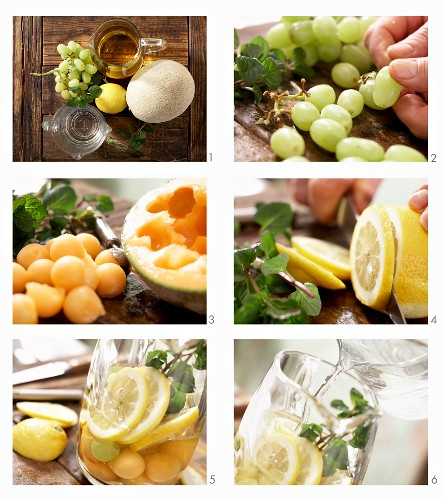 White sangria being made