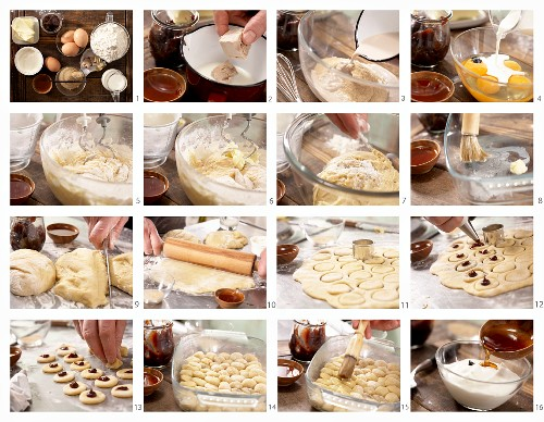 'Buchteln' (baked, sweet yeast rolls) filled with stewed damsons being made
