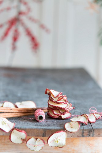 Hand-crafted garland of dried apple slices