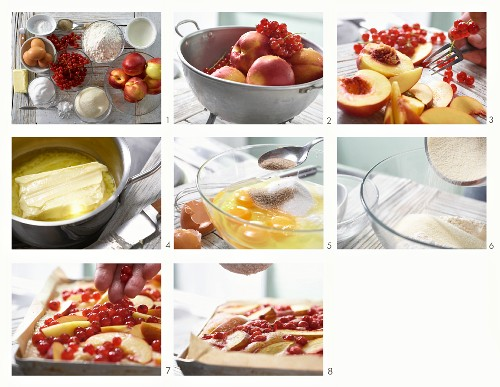 Nectarine and redcurrant cake being made