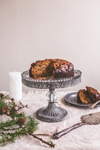 Christmas fruit cake on a cake stand