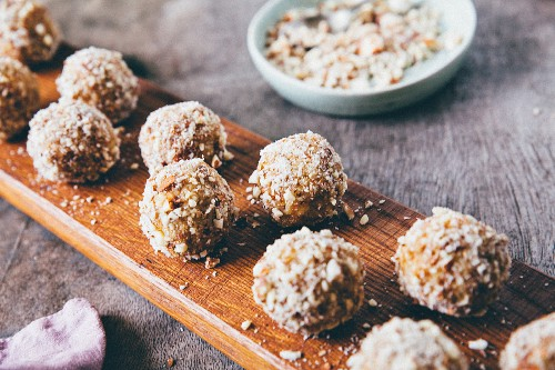 Bliss balls with coconut and nuts