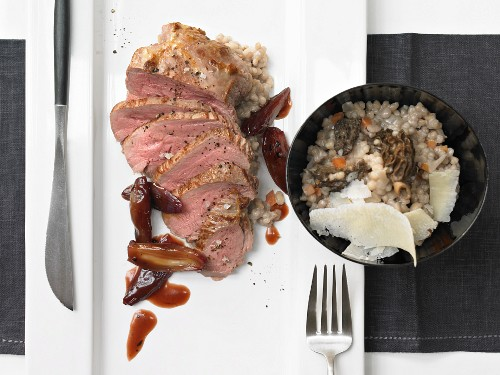Lamb steaks with pearl barley risotto