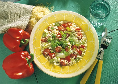 Jambalaya - rice with celery, pepper, sliced Debreziner