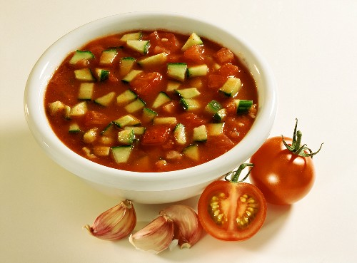 Cold Tomato Soup with Cucumber and Garlic
