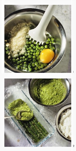 Making spring pate with asparagus, peas & cream cheese