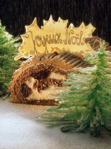 Black Forest style Buche de Noel with sugar fir trees and snow