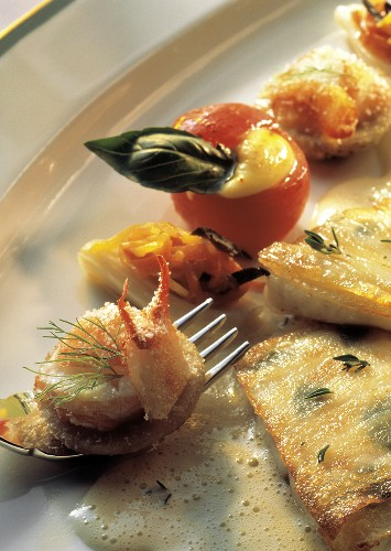 Catfish Fillet with Lobster; Stuffed Cherry Tomatoes
