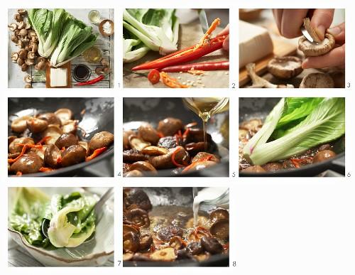 How to make braised baby bok choy with tofu and shiitake mushrooms