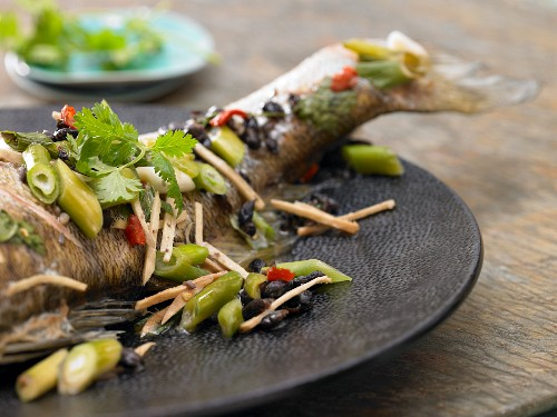 Steamed zander with fermented black beans and chili