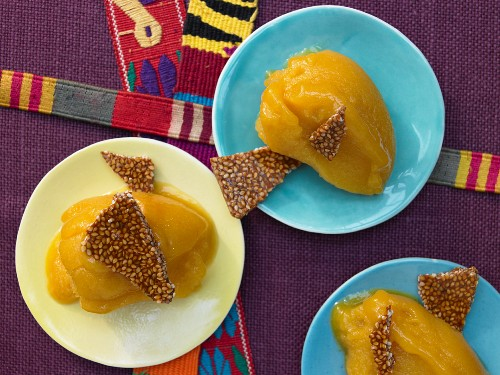Mexican sorbet with guava, pomegranate and sesame