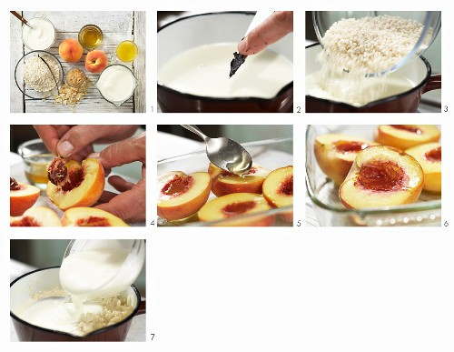 How to prepare sweet risotto with grilled peach