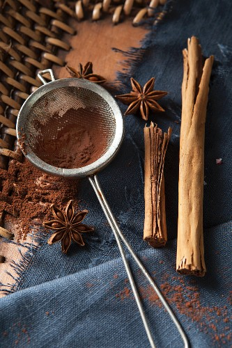Cocoa powder in a tea strainer, surrounded by Christmas spices