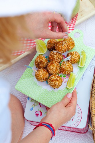 Fish balls with celery, onion and sesame for a beach picnic