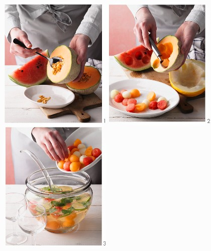 Melon ball punch being made (non-alcoholic)