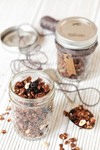 Muesli with dried cherries, buckwheat and coconut pieces
