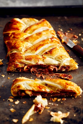 Danish pastry with chocolate and nut filling (soul food)