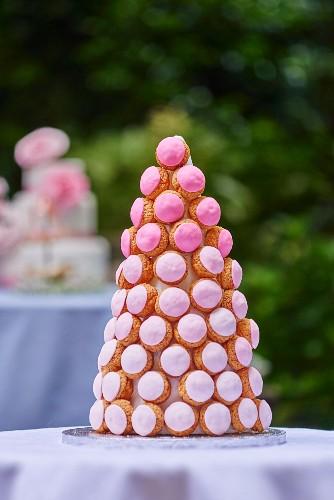 Profiterole tart on a garden table