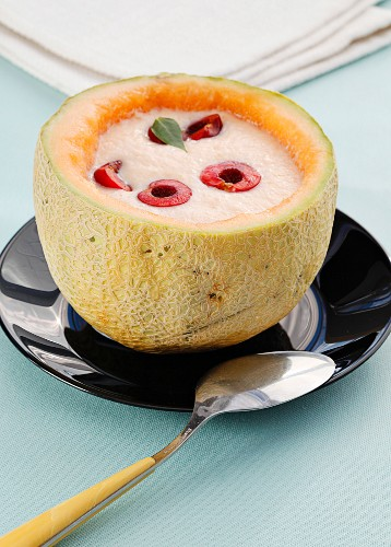 Melon soup with cherries