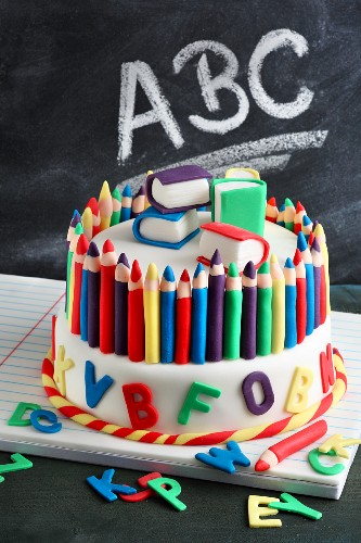 A fondant icing cake for the first day of school