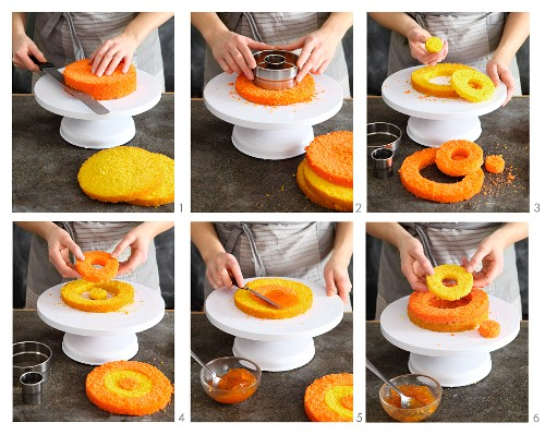 Colourful ring cake being made