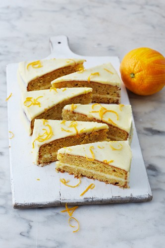 Sugar-free carrot cake with orange cream cheese