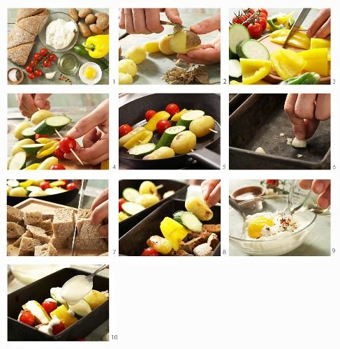 Gemüse-Kebabs aus dem Ofen mit Joghurt zubereiten