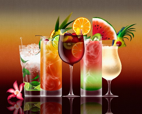Assorted tropical cocktails