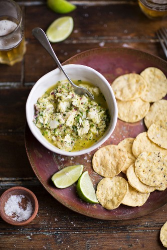 Ceviche and corn chips