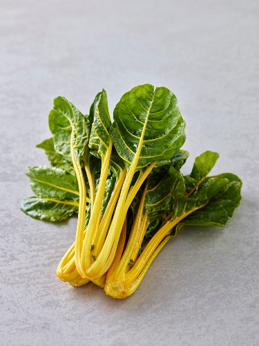 Fresh, yellow-stemmed chard on a grey background