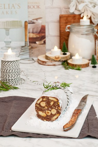 Chocolate salami with nuts for Christmas