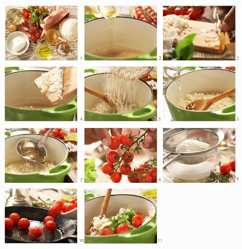 How to prepare caprese risotto with tomatoes, mozzarella and basil