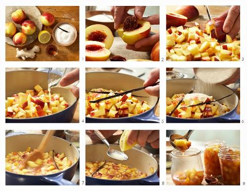 How to make nectarine jam with amaretto, vanilla and ginger